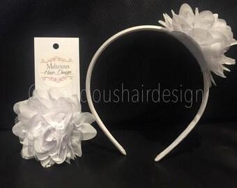 Dahlia Chiffon Lace Flower Clip/Headband - White