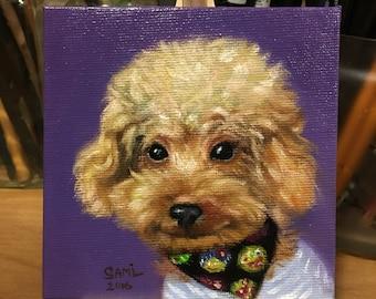 Pet Portrait - Custom Dog Portrait - Original Oil Painting from photo - Poodle
