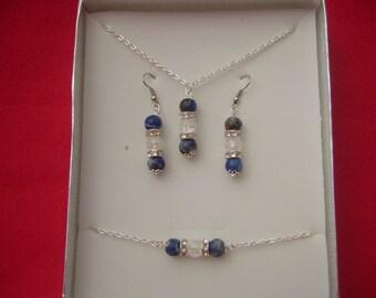 Handmade genuine sodalite and clear quartz gemstone bead trio jewellery set
