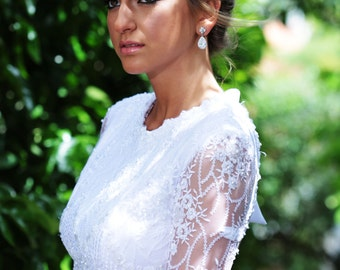 White wedding dress, wedding gown with sleeves, wedding dress with open back, tight wedding dress, wedding dress lace beads,