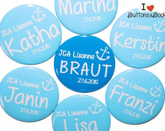 10 x anchor personalized JGA buttons blue 50mm wedding hen bride name personalized