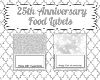 25th Anniversary Food Tent Cards- INSTANT DOWNLOAD!!!