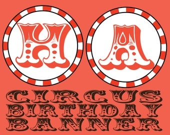 Circus Birthday Banner- INSTANT DOWNLOAD!!!
