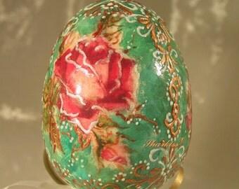 Easter souvenir egg hand painted wooden egg collectible art easter souvenir egg collectible art unique easter decoration home decor victorian negle Gallery