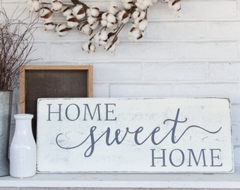 """Home sweet home   rustic wood sign   rustic wall decor   french country decor   24"""" x 9.25"""""""