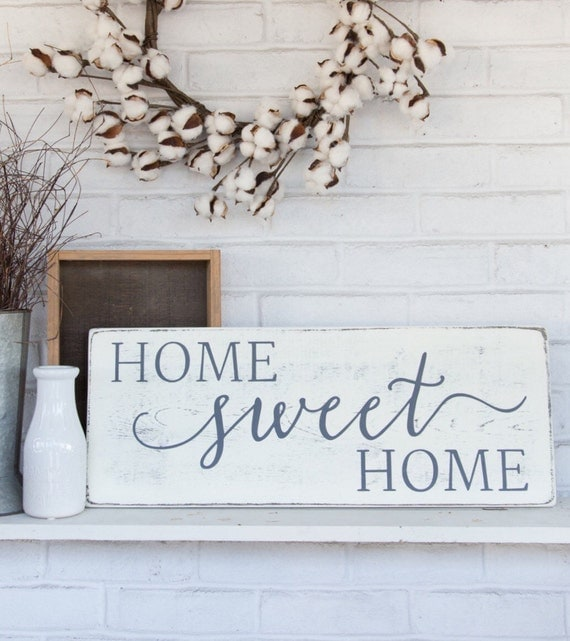 Rustic Home Decor: Home Sweet Home Rustic Wood Sign Rustic Wall Decor