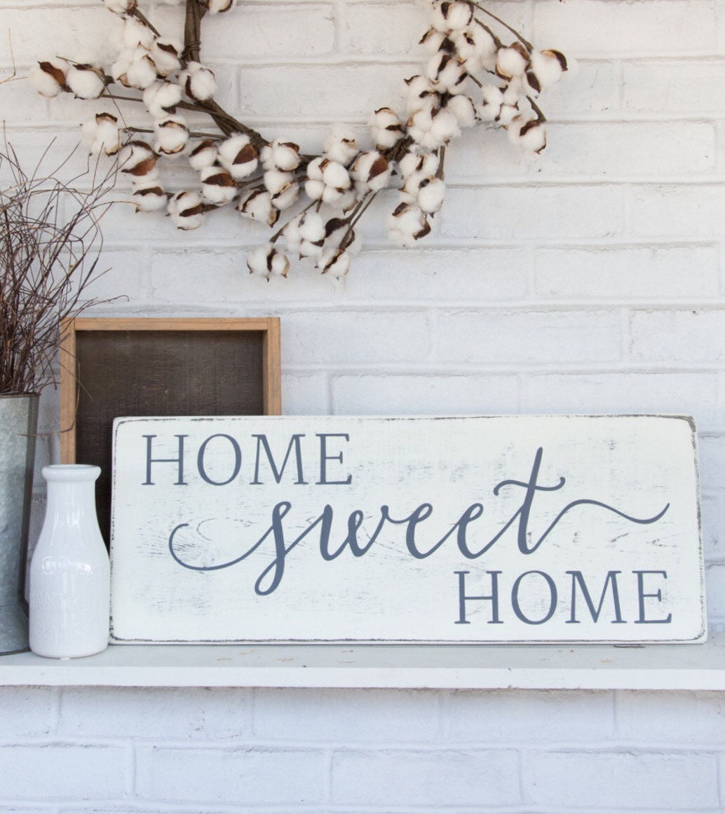 Home sweet home rustic wood sign rustic wall decor for Moose decorations home
