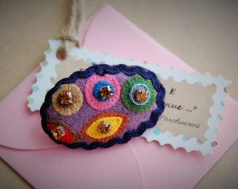 Felted Brooch,Boho brooch. Fabric Brooch Textile,a gift on Valentine's Day,,Pin, purple brooch. Flower brooch Handmade brooch