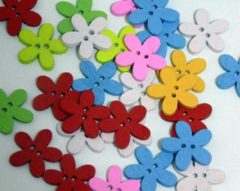 20 Flower Wooden Buttons  2 Holes #EB19