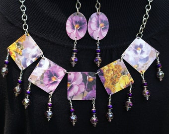 Designer Tin Necklace and earrings with pansies and flowers