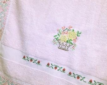 Flower Pot Embroidery Bathroom Hand Towel