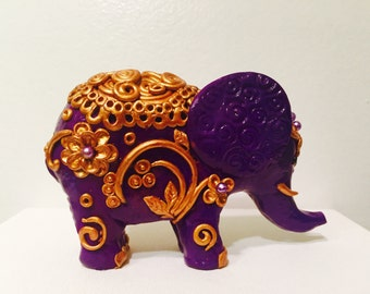 Purple little thing. Elephant, polymer clay.