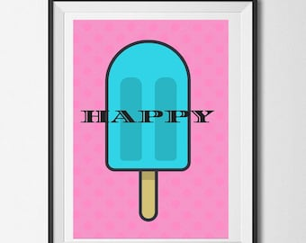 Didital poster,Happy, , digital , PDF , instant download , gifts , wall décor, home décor