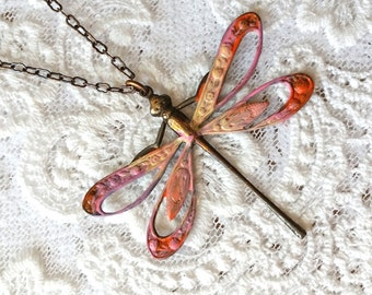 """Stylish Dragonfly Necklace, LONG 30"""" Chain, Pendant Necklace, Victorian Style Hand Made Dragonfly Jewelry, Gift For Women, Jewelry Set"""