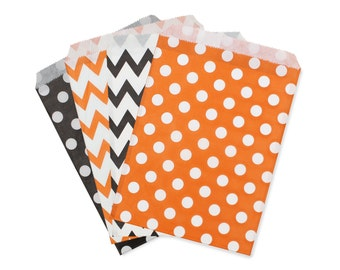 Party Favor Bag, Paper Favor Bags, Black and Orange Polka Dot Chevron Paper Favor Bags, Halloween Party Favor Bags, Fall Carnival Treat Bags