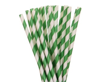 Paper Straws, Green Striped Straws, Graduation Straws, School Party Straws, Christmas Straws, St. Patrick's Day Paper Straws, Emerald Straws