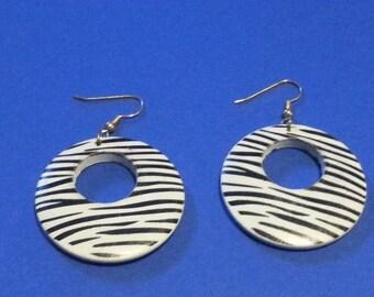 wood zebra earrings