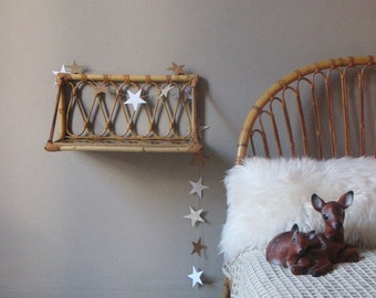 small shelf rattan wicker vintage