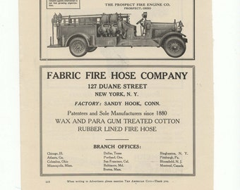 Vintage 1920 Fire Truck/Fire Hose/Fire Pumps Ad-The American City