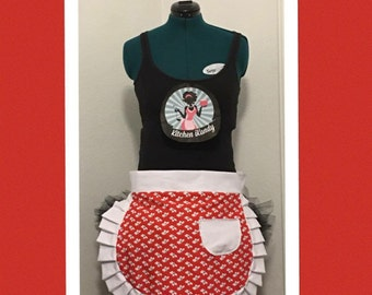 Red Butterfly Half Apron