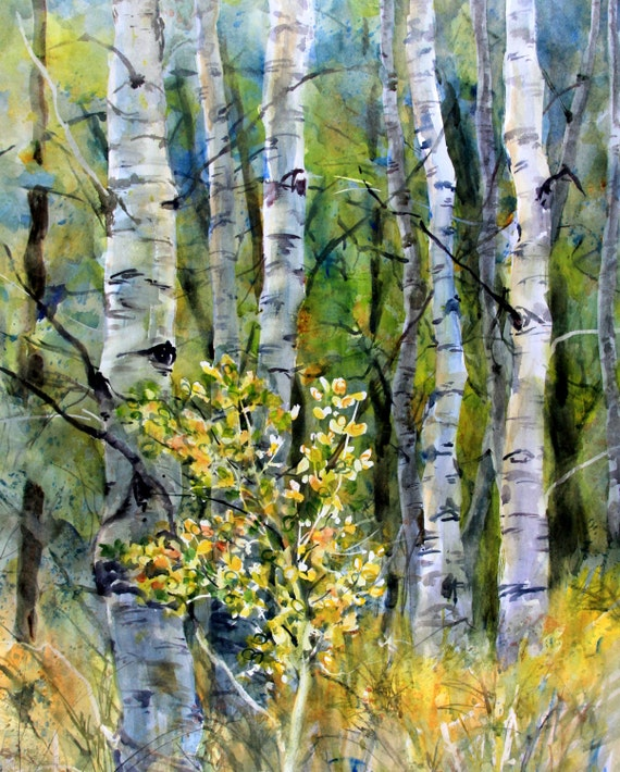 Aspen Grove 13 - signed print - watercolor painting - Bonnie White - Columbia Gorge - art - paintings - wall art
