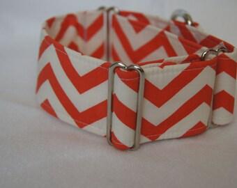2 Inch Wide Martingale Collar: Greyhound Whippet Lurcher Handmade Dog Collar Chevron Zigzag