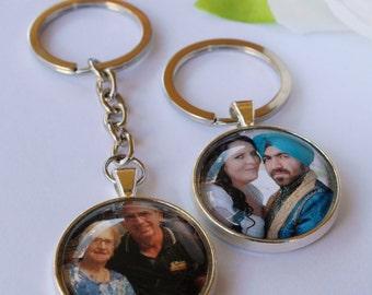 FREE SHIPPING AUS - Custom Photo Keychain - Personalised Keyring - Key Ring - Any Image - Your Photos - Gift - Glass Pendant