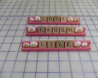 LIVE, LAUGH, LOVE Scrabble Tiles on Scrabble Rack Painted Pink With Shells