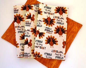 Cloth Napkins, Set of 4, Thanksgiving Turkey napkins, Gobble Gobble, Double-sided, Dinner napkins, Cotton Fabric, Reusable Sew4MyLoves