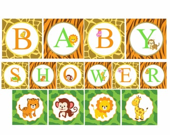 Safari Baby Shower Banner, Jungle baby shower Decorations, Printable Banner, Safari baby animals, Digital File.