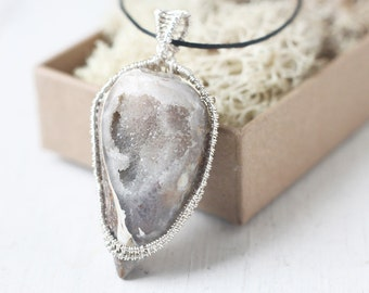Shell Fossil Pendant, Wire Wrapped Spiralite Gemshell Necklace