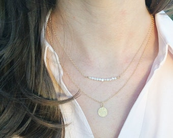 Stunning Layered Necklace Set**Fresh Water Pearl Bead Bar**Gold Disk Pendant **14k Gold Filled