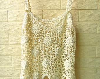 Crochet Cropped Vest Spaghetti Strap Tank