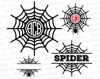 Spider SVG, Spider Web SVG Files, Spider Monogram Svg, Spider Svg Files, Spider Web Cut File for Cricut, Spider SVG Files, Instant Download