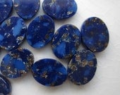 28 Glass Cabochons, Lapis Blue with Gold Sparkle, 8mm x 6mm Oval or 9mm Round