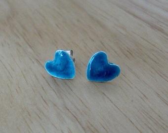 Sea blue enamel fine silver heart earrings