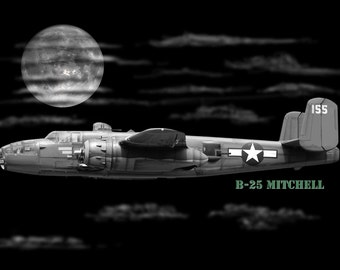 B-25 Mitchell WW2 Bomber Night Flight