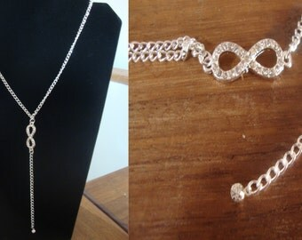 "Necklace new handmade ""Infinite strass"" silver"
