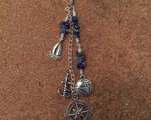 Sail Away Charm, Bag Charm, Planner Charm, Sailing Compass, Travel, Lapis Lazuli, Silver Plate, Charm, Jewellery, Planner Bling