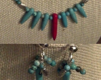 Sterling Silver  Spiked Red and Blue Turquoise Necklace Set