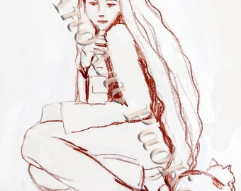 Black and White Sketch, Wall Prints, The girl froze, - graphics, sketch, drawing