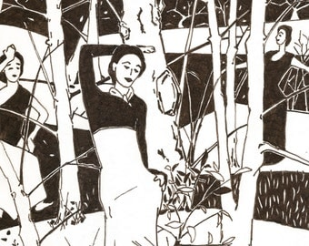 Dance In Trees 2, Landscape,Limited Edition Print, Black and White Artwork,Giclee,ECARTNOW