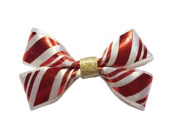 Candy Cane Holiday Dog Bow