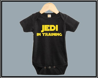 Black baby onesie/jumpsuit cute funny star wars jedi in training baby clothes for baby girl or boy, Best unique baby gift for baby shower