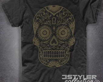 Mexican Skull black t-shit Mexican Skull vintage tattoo traditional-men and women