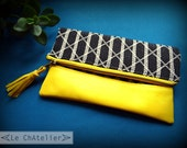 Yellow leather clutch / Ethnic Leather pouch / Zipper - Foldover Clutch bag / Cosmetic and makeup case/ bridesmaid clutch / Bohostyle bag