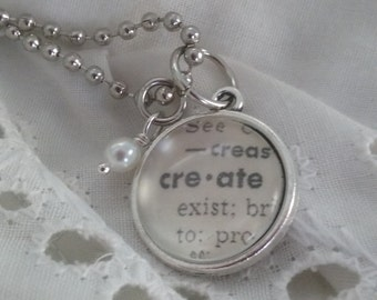 Handcrafted Vintage Dictionary Petite Word Necklace - CREATE