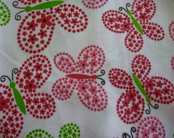 Pink and Green Cheerful Floral Butterfly Fabric