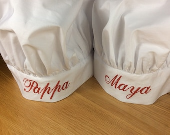 Personalised Chef Hat For Men, Women & kids  with  Name or Phrase embroidered in any colour Personalized kids chef hat monogrammed chef hat