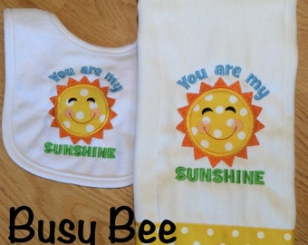 You Are My Sunshine Burp Cloth and Bib Set